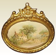 Antique German doll house miniature decorative oval Ormolu Home picture
