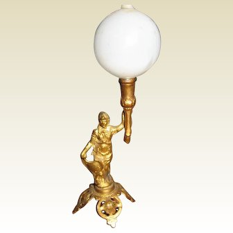 Antique Ormolu doll house miniature Figural Lamp Bristol shade
