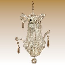 Antique French Miniature Crystal Glass doll house Chandelier