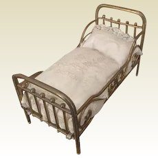 Antique German Marklin doll house Brass bed