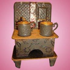Antique German Doll house kitchen miniature Embossed stove original pans