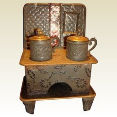 Antique German Doll house kitchen miniature Embossed stove original pans