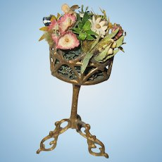 Antique doll house miniature German gilt metal small flower plant stand