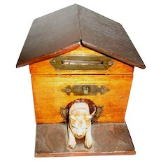 Antique wood Dog House bank