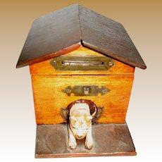 Antique wood Dog House bank