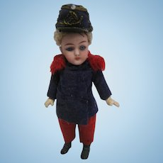 Antique French jointed bisque Soldier Mignonette doll