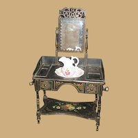 Antique Ebony Toile floral painted mirrored Toilette Dressing Table