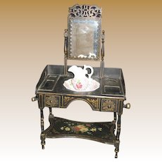 Antique Ebony tole floral painted mirrored toilette dressing table