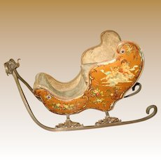 Antique French Miniature Sleigh with Embossed Cherubic Scenes