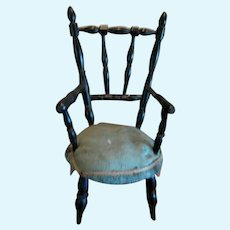 Antique French doll miniature black turned wood Salon Chair