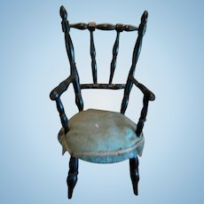 Antique French doll miniature black turned wood Chair Blue upholstery
