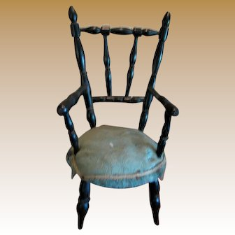 Antique French miniature black turned wood doll Chair Blue upholstery