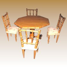 Antique French Maple Wood Faux Bamboo Doll Furniture table & floral chairs