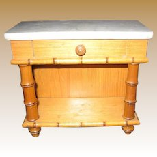 Antique French Maple Wood  Faux Bamboo Doll Furniture marble sideboard