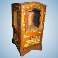 Antique French Miniature large Vitrine with Embossed Cherubic Scenes