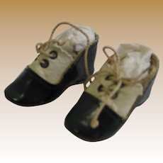 Antique Black white leather small Doll shoes