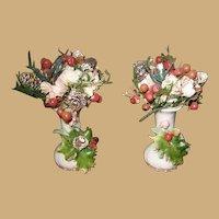 Antique French Miniature white Milk glass decorative Floral Vases