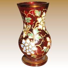 Antique Cranberry miniature floral Moser Glass vase
