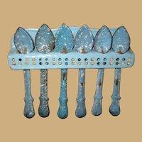 Antique German kitchen miniature Blue speckled graniteware spoon rack