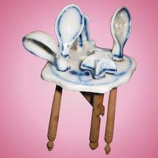 Antique German kitchen miniature doll house Blue Onion porcelain rack utensils