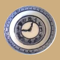 Antique German miniature doll house Blue porcelain clock