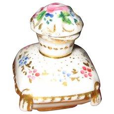 French antique doll miniature porcelain Floral perfume bottle