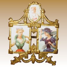 Exceptional Ormolu antique miniature tri Photo picture frame