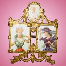 Exceptional Ormolu antique miniature tri Photo picture frame