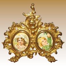 Exceptional Ormolu antique miniature large photo Cherub picture frame