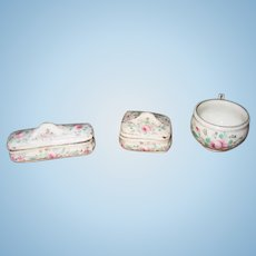 Antique white pink floral French doll toilette small porcelain set