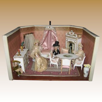 Antique French Mignonette doll Bridal Party room box