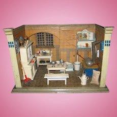 Antique German Christian Hacker doll house miniature Kitchen room box Unusual shape