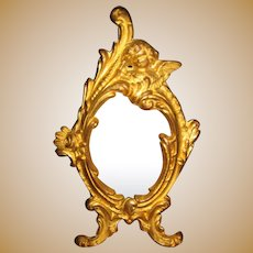 Exceptional Ormolu antique doll miniature large oval Cherub picture frame