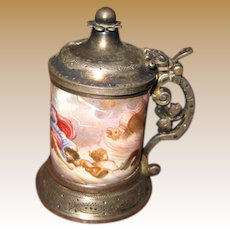 ANTIQUE miniature AUSTRIAN porcelain enamel Pewter Stein