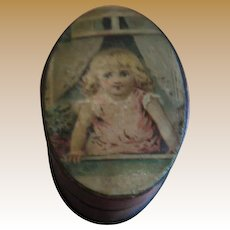 Antique small oval paper Box Girl in Window