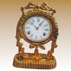 Antique miniature doll house French ormolu Ribbon clock