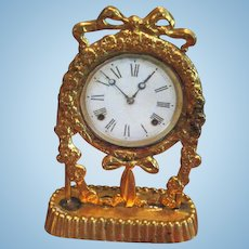 Antique miniature doll house French ormolu Ribbon clock