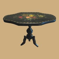 Antique miniature early French ebony Toile Painted pedestal Table