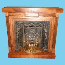 Antique Doll vignette wood Decorative large miniature Fireplace
