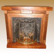 Antique Doll vignette wood Decorative large Fireplace