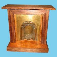 Antique Doll vignette Doll House wood Brass decorative Fireplace