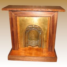 Antique Doll vignette Doll House wood Brass decorative Fireplace