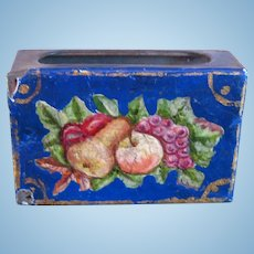 Antique German kitchen store miniature tin Dog Floral Needle Choice