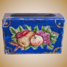 Antique German kitchen store miniature tin Dog Floral Needle Choice