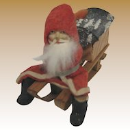Antique German Putz Santa wood sled candy container