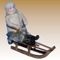 German Antique Christmas Heubach cotton bisque large sledder ornament