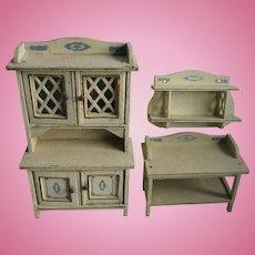 Antique German Gottschalk miniature Doll House Blue white kitchen furniture