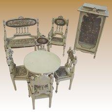Antique miniature Doll house Vignette Ornate wood furniture Paul Leonhardt