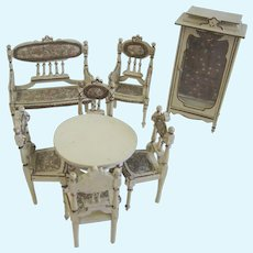 Antique miniature Doll house Vignette Ornate wood furniture Paul Leonhardt Mignonette