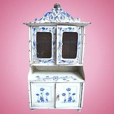 Antique German tin kitchen Blue White decorated Cabinet